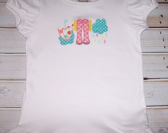 Sample SALE Rainy Day Applique White Short Sleeve Shirt Size 5T--Ready To Ship--Umberella--Rain Boots--Storm Cloud