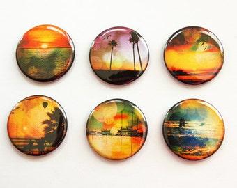 Sunset, Landscape, Magnets, button magnets, Locker Magnets, Kitchen Magnets, orange, green, tropical sunset, stocking stuffer (3292)