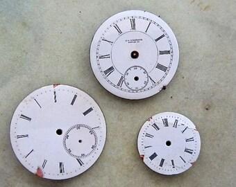 Vintage Antique porcelain pocket Watch Faces - Steampunk - Scrapbooking D55