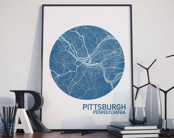Pittsburgh, Pennsylvania City Map Print