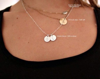 Initial Disc Necklace - Two Discs - 925 Sterling Silver