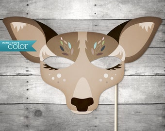 DIY Printable Lady Deer Mask - Mardi Gras, Birthdays, Masquerade Ball, Weddings, or Halloween