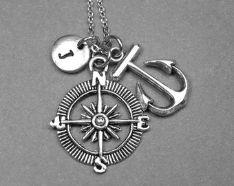 Compass necklace, anchor necklace, nautical necklace, long distance relationship necklace, personalized necklace, initial necklace, monogram