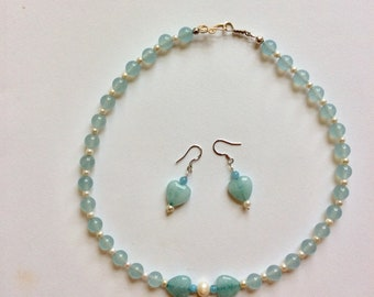 Aquamarine and freshwater pearl necklace and earring set handmade sterling silver clasp