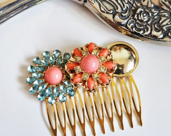Jewelled Vintage Inspired Blue Crystal Hair Comb