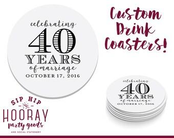 Custom Coaster, Anniversary Party, Anniversary Coaster, Personalized Coaster, Party Coasters, Bar Coaster, Custom Favors, Coaster, 1678