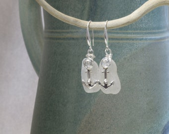 Genuine Sea Glass earrings - genuine Sea Glass -Sterling silver -Beach Glass -Jewelry -surf tumbled -handcrafted - anchors