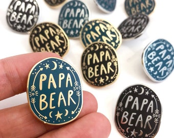Papa Bear Enamel Lapel Pin Badge