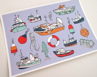 Nautical Illustration A4 Art Print | Boats, Seaside, Harbour