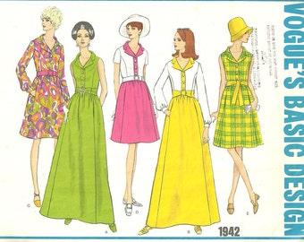 Vogue 1942 Basic Design // Vintage 60s Sewing Pattern // Dress Gown // Size 12 Bust 34