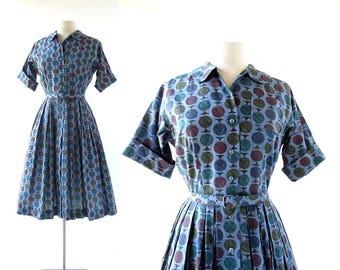 Vintage 1950s Dress | Gyroscope | Novelty Print Dress | 50s Dress | XS