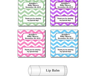20 Personalized Baby Shower Party Chevron Lip Balm Favor Stickers Labels