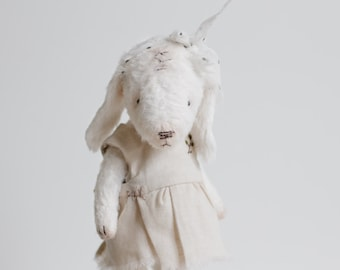 Made To Order White Mohair Rabbit Embroidered Cotton Dress 7 Inches Plush Bunny Stuffed Animal Personalized Gift For Her Artist Teddy Bear