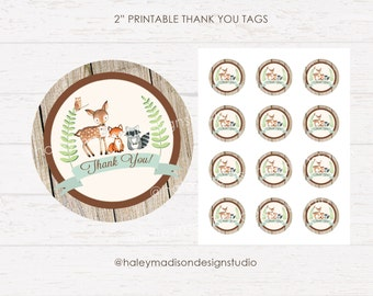 Woodland Thank you Tags, Baby shower tags, Birthday tags, Rustic woodland thank you tags DIGITAL FILE HM111