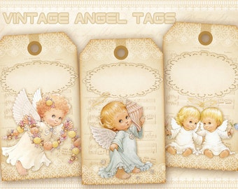 Vintage angel gift tags Digital printable tags on Digital collage sheet Vintage images for jewelry holders Paper craft