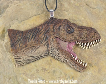 Tyrannosaurus Rex Necklace - Dinosaur Portrait - IN STOCK and Ready to Ship