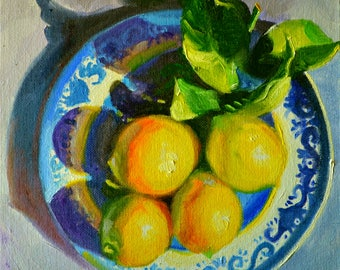 Digital Print of LEMONS ON DELFT, blue and yellow, kitchen art,  gift for mom, gift for her, Christmas gift, Holiday gift