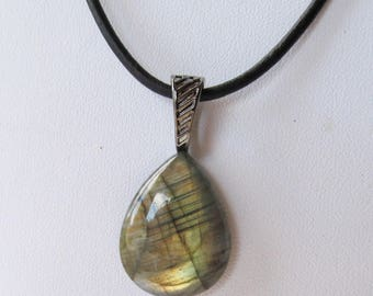 Pear-Shaped Labradorite Cabochon Pendant with Gunmetal-Finished Findings and 2mm Natural Black Leather Cordage