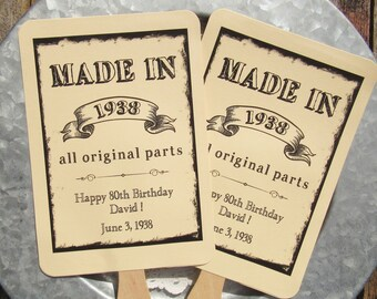 Adult Birthday Favor | 80th Birthday Favors - Birthday Party Favor - Birthday Party Fans - Adult Birthday - Milestone Birthday