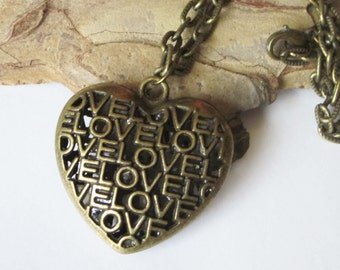 Heart Necklace, LOVE Heart Pendant, Wedding Necklace, Large Hollow Bronze Heart, Sturdy Antiqued Bronze Chain