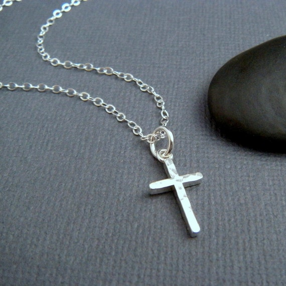 Hammered silver cross necklace small sterling silver cross like this item mozeypictures Images