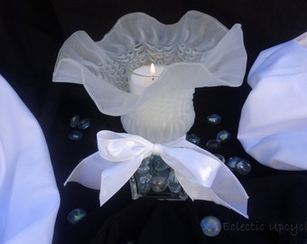 Recycled Glass Candle Holder - Bridal White
