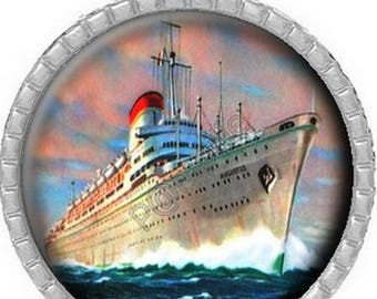 Cabochon pendant - Ship starboard (488)