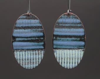 Blue and black enamel textured earrings vitreous enamel jewelry dangle earrings drop earrings
