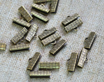 20pcs 13x7mm Clamps Crimp Ribbon End  Antiqued Brass Textured Finish