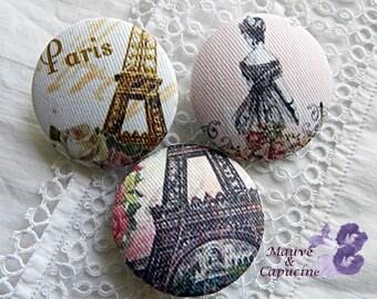 3 fabric buttons, retro Paris, 0.94 in / 24 mm