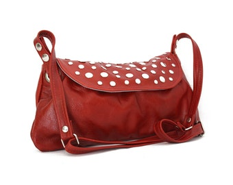 Ruby Red leather bag - Crossbody everyday leather bag in red / Bolso de cuero rojo rubí - rock&funk collection