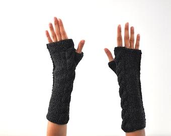 Black Long Fingerless Gloves Arm Warmers Hand Knit Winter Accessories Winter Fashion