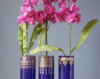 Moroccan Glass Bud Vases, Plum Purple Tinted Glass with Golden Accents