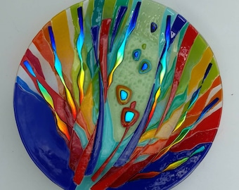 Primary colored glass platter