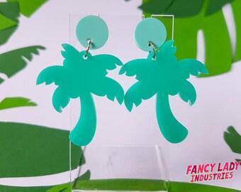 Tropical Palm Dangle Earrings, Palm Tree Earrings, Laser Cut Acrylic Earrings