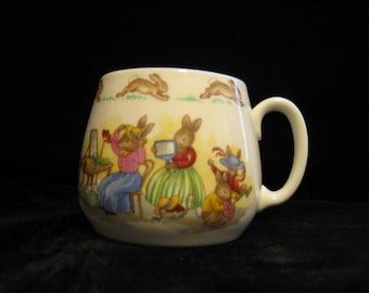 Vintage Bunnykins Don Mug, one handle, Hat Shop( HW28) / Trying on hats (HW28R)