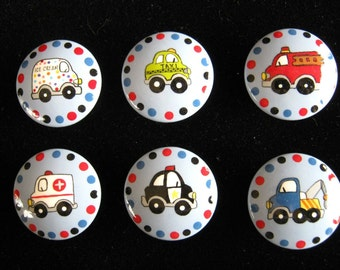 Set of 6 CARS and TRUCKS - Hand Painted Wooden Knobs Pulls - Perfect for Little Boy's Room