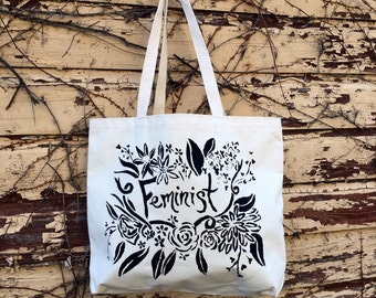 Feminist Shoulder Tote Bag printed with hand made stencil