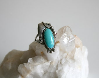 Oblong Turquoise Navajo Ring 5.5