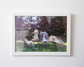"""""""Spring readings"""" A4 framed print - Pullip photography, art collection print deco Pullip doll"""