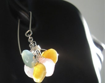 Dangle Drop Cluster Earrings. GISELE. With Argentium Silver and glowing chalcedony gemstones