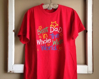 Vintage Best Dad tee t-shirt Father's Day XL USA Souvenir Kitschy