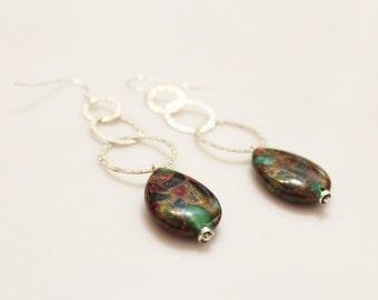 Long Sterling Silver Gemstone Drop Earrings, Colorful Earrings
