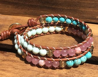 Turquoise and pink leather double wrap beaded bracelet