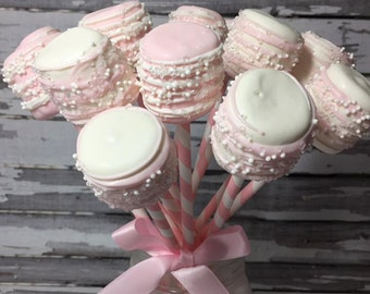 12 Chocolate Dipped Marshmallows First Birthday Party Baby Shower Favors Pink Princess Blush Pink Sweets Table Valentines Day Favors