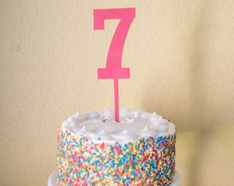 Number Seven Birthday Cake Topper -  wood number 7