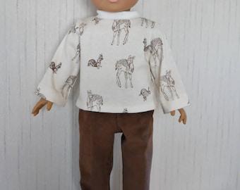 "18"" Boy Doll Deer Shirt with Corduroy Pants fits American Girl Boy Type 18""  Dolls"