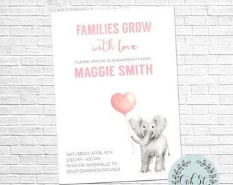 HALF OFF Modern Elephant Baby Shower Baby Sprinkle  Adoption Invitation Simple Elegant Baby Shower Invite