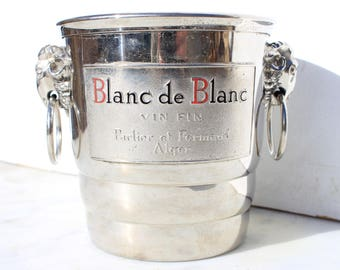 Vintage French  Ice Bucket ,cooler, Aluminium, 1950's ,Blanc de Blanc