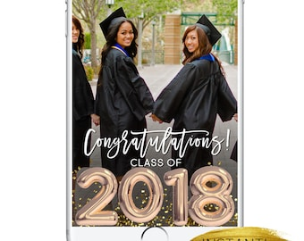 Graduation Snapchat Geofilter, Grad Party Class of 2018 Snapchat INSTANT DOWNLOAD Geofilter, Custom Cute Lit School Prom Highscool Grad